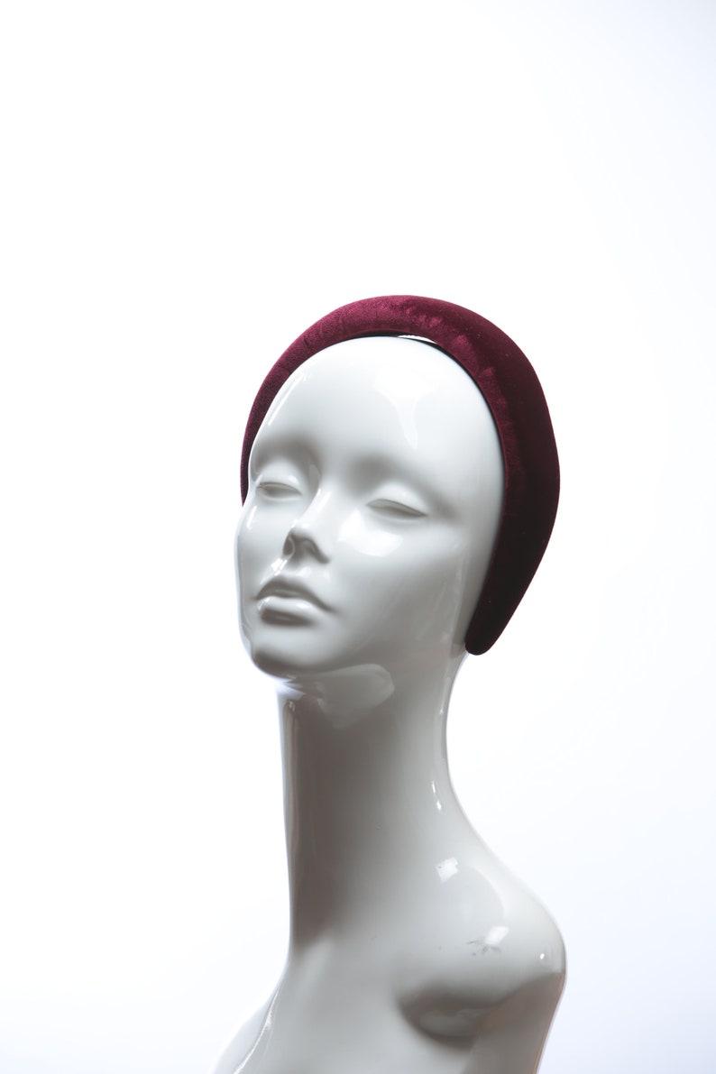 Wine Burgundy Velvet Padded crown fascinator headband  all image 0