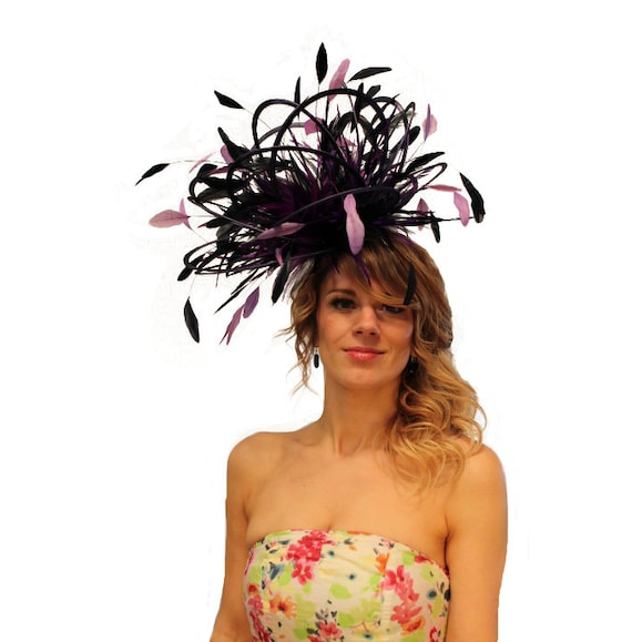 Navy Blue and Purple Large Feather Fascinator Hat Mother of  650c3710dca