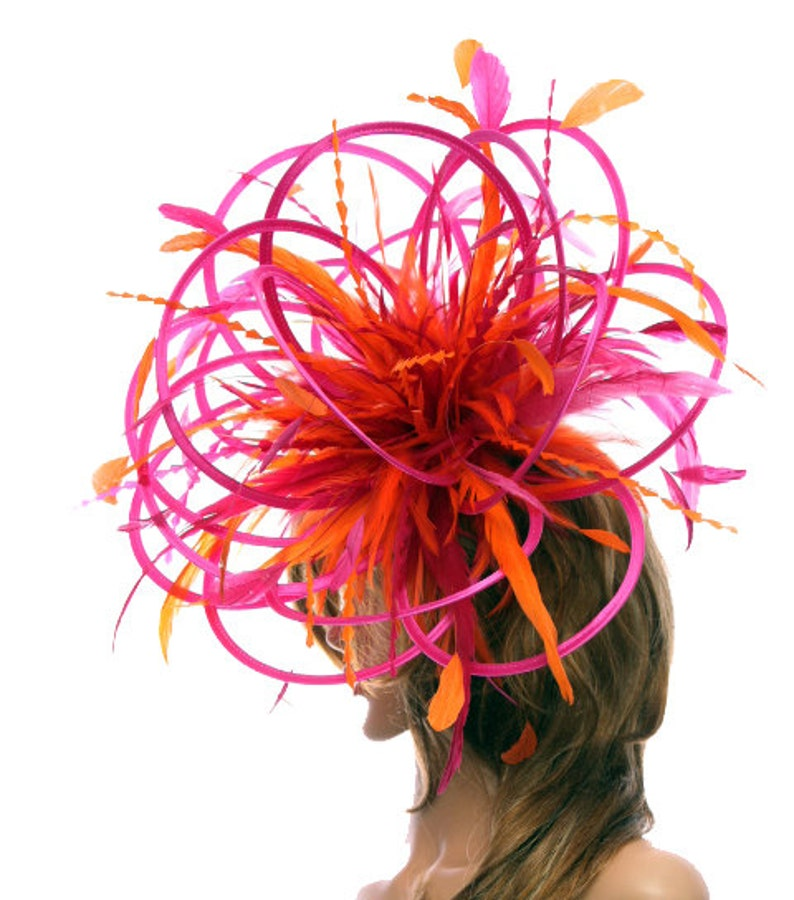 choose any colour feathers and satin Hot Pink Fuschia and Orange Large Feather Fascinator Hat-Perfect for a Mother of The Bride,ladies day