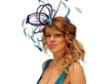 Royal Blue, Turquoise and Aqua Satin Fascinator Hat - wedding, ladies day - choose any colour feathers & satin