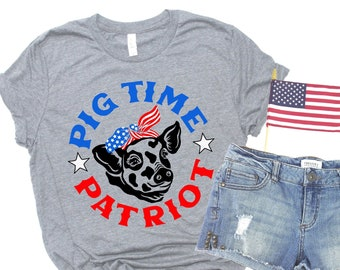 Patriotic Pig Shirt, Funny 4th of July T-shirt Pig Time Patriot, Animal Lover American Holiday Tee, America Red White Blue Flag Bandana