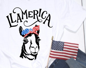 Llamerica 4th of July Shirt, Womens America Shirt, July 4 Funny Llama Gift for Llama Lover American Patriotic Funny Mom Shirt Red White Blue