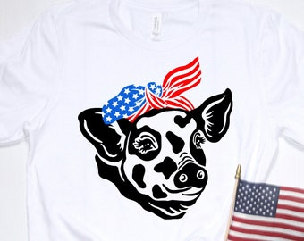 Funny Hipster Patriotic Pig Shirt, Red White & Blue American Flag Bandana Pig Tee, Country Farm Animal July 4 Shirt America Independence USA