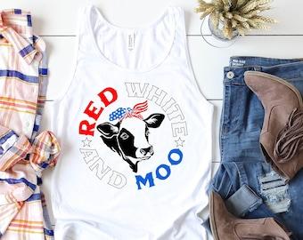 July 4th Shirts USA America Patriotic Tank Funny Moo Cow Shirt, 4th July Tank Top 4th of July Tee, Funny American Flag Bandana Country Farm