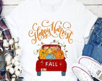Happy Harvest tshirt Vintage Red Pumpkin Truck Shirt, Fall tshirts for Women, Autumn Fall Casual Wear Tee, Fantasy Pumpkin Farm Gift Top