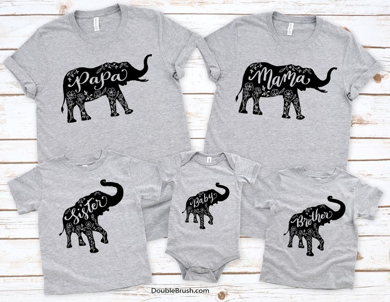 Papa Mama Brother Sister Nana Auntie Elephant Shirt Sets Floral Elephant Family Shirts Family Photo Matching Gift Daddy Mommy /& Me