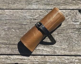 Italian hazelnut calf leather - paint brush, pen/pencil roll case.