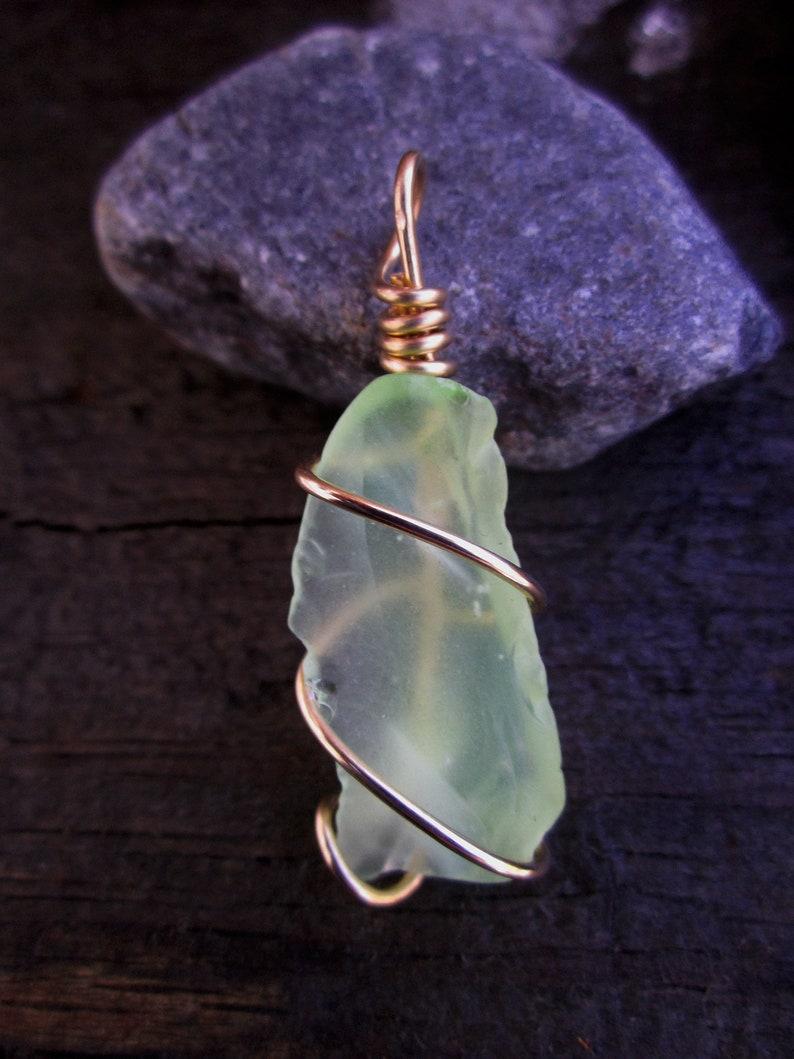 Bronze Wrapped Light Green Beach Glass Pendant 2