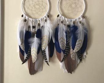 Bohemian dream catcher, white navy brown turkey feathers dreamcatcher