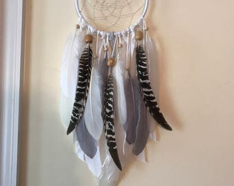 Bohemian dream catcher, white cream gray turkey feathers dreamcatcher