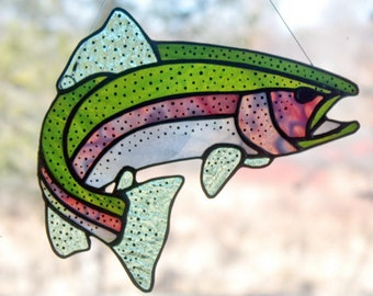 Rainbow Trout Stained Glass, Gifts for Men, Wildlife Art, Glass Art, Stained Glass Fish