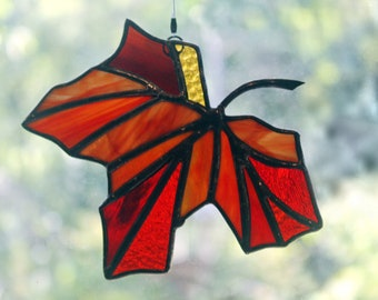 Maple Leaf Stained Glass Suncatcher, Autumn Reds, Glass Art, Gifts for Her