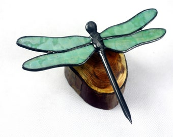 Dragonfly Stained Glass Sculpture, Green on Wood Base, Glass Art, Wildlife Art