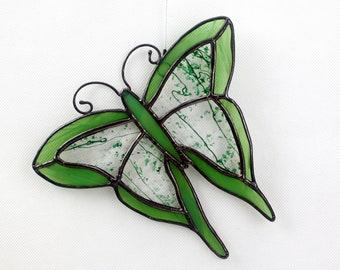 Stained Glass Butterfly Suncatcher, Greens, Glass Art