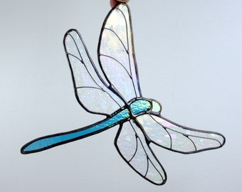 Dragonfly Stained Glass Sun Catcher, Aqua Blue and Clear Iridescent, Glass Art, Wildlife Art