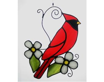 Cardinal Stained Glass Suncatcher, Stained Glass Bird, Glass Art, Wildlife Art, Bird Lovers Gift