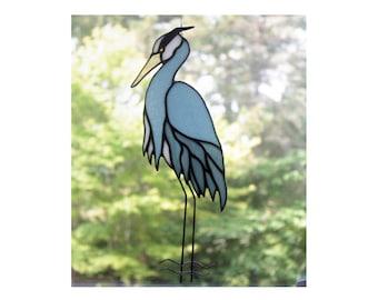 Blue Heron Stained Glass, Stained Glass Bird, Panel, Glass Art, Wildlife Art, Beach Decor, Shorebirds, Bird Lovers Gift