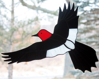 Stained Glass Red Headed Woodpecker, Bird Suncatcher, Large Sun Catcher Panel, Glass Art, Stained Glass, Wildlife Art, Bird Lovers Gift