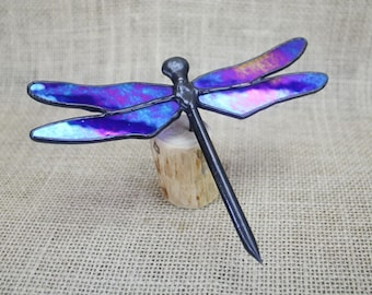 Stained Glass Dragonfly Sculpture, Blue Iridescent on Wood Base, Glass Art, Wildlife Art