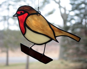 Stained Glass Robin, Bird Suncatcher, European Robin, Glass Art, Wildlife Art, Bird Lovers Gift