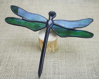 Stained Glass Dragonfly  Sculpture, Green on Wood Base, Glass Art, Wildlife Art