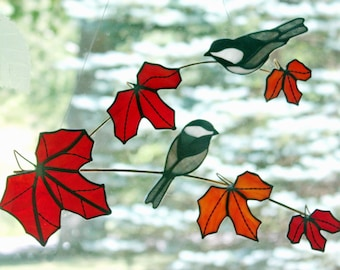Stained Glass Chickadees Suncatcher, Branch with Red Leaves, Chickadee Bird, Stained Glass Birds, Glass Art, Wildlife Art, Bird Lovers Gift