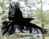 Stained Glass Raven, Stained Glass Bird, Raven Art, Gothic, Stained Glass Window Panel, Crow Art, Glass Art, Wildlife Art, Bird Lovers Gift