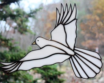 Stained Glass White Dove Bird Large Suncatcher, Peace Dove, Memorial Dove, Wedding Dove, Glass Art, Wildlife Art, Bird Lovers Gift