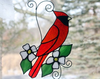 Stained Glass Cardinal Suncatcher Glass Art, Wildlife Art, Bird Lovers Gift