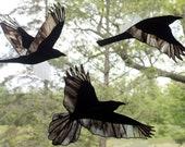 Stained Glass Raven Set, Stained Glass Birds, Raven Art, Gothic, Crow, Raven Art, Glass Art, Wildlife Art, Bird Lovers Gift