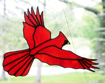 Stained Glass Cardinal Bird Large Suncatcher, Glass Art, Bird Sun Catcher, Wildlife Art, Bird Lovers Gift