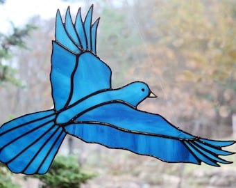 Stained Glass Bluebird, Large Bird Suncatcher, Glass Art, Wildlife Art, Bird Lovers Gift