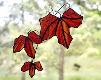 Stained Glass Red Maple Tree Branch with Leaves Sun Catcher, Maple Leaf Suncatcher, Fall Leaves, Glass Art, Autumn Decor