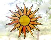 Stained Glass Sun, Suncatcher, Glass Art, Window Decor, Handmade Glass Sun Catcher, Yellow Orange Suncatchers, Stained Glass Window Panel
