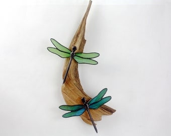Dragonflies Stained Glass Green and Blue Wall Hanging Sculpture, Glass Art, Wildlife Art