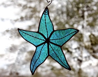 Stained Glass Starfish Suncatcher, Aqua Blue Iridescent, Beach Decor, Glass Art, Mermaid Gift, Gifts for Her