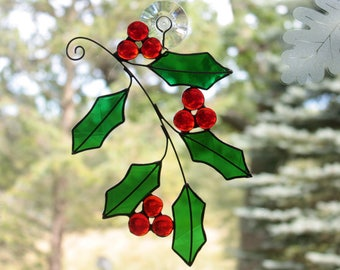 Stained Glass Holly Suncatcher, Christmas Decor, Holiday Decor, Xmas, Christmas Decoration, Holly Sprig, Holly Branch