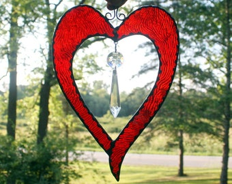 Stained Glass Heart with Crystal Suncatcher, Glass Art