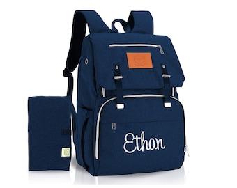 Navy Blue Backpack Diaper Bag  Monogrammed, Diaper bag Backpack with monogram, New Baby Gift, Baby Shower Gift
