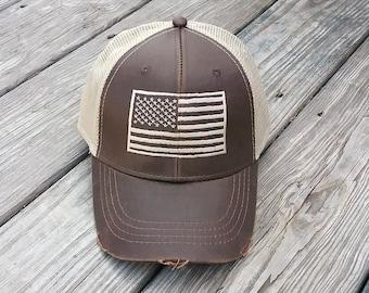 American Flag Trucker Hat - distressed patriotic baseball hats 83d704f6970
