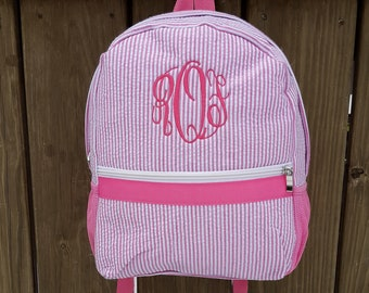 05ae8a8f6608 Small Seersucker Back Pack personalized or monogrammed