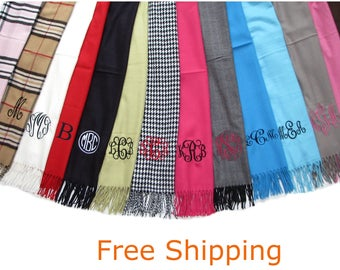 Monogrammed Scarf - Personalized Scarves - 34 colors - Free Shipping