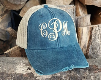 ad2b0626ab36ea Monogram Trucker Hat - distressed with tan mesh back - distressed baseball  hat - embroidered 12 hat colors