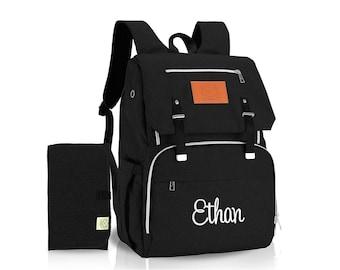 Black Backpack Diaper Bag  Monogrammed, Diaper bag Backpack with monogram, New Baby Gift, Baby Shower Gift