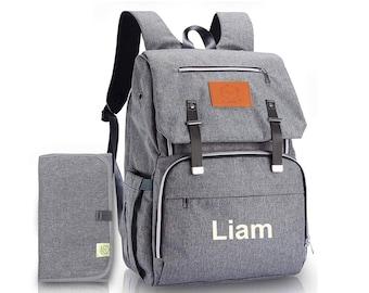Gray Backpack Diaper Bag  Monogrammed, Diaper bag Backpack with monogram, New Baby Gift, Baby Shower Gift