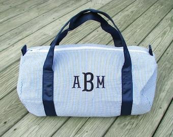 Seersucker Duffle Bag, Monogrammed Duffle Bag, Monogram Duffle Bag, Child Size Duffle, Seersucker 2 colors