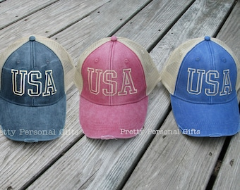 Red USA Trucker Hat, Red USA baseball hat, Blue USA Hat, Red Distressed Trucker Hat, Distressed Trucker Hat