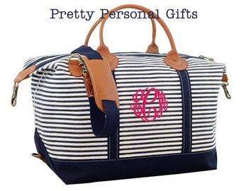 Monogram Weekender Bag, Weekender Bag, Overnight Bag, Travel Bag, Monogram Travel Bag,  Monogram Duffle, Striped Weekender