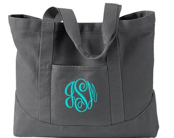 Monogram Tote Bag in 7 Colors Personalized Canvas Tote Bag