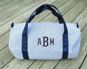 Seersucker Duffle Bag, Monogrammed Duffle Bag, Monogram Duffel Bag, Child Size Duffle, Seersucker Duffel 3 colors
